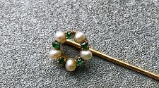 Antique Green Stone And Pearl Hat Pin