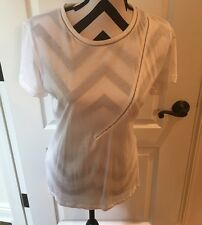 NWT Zara Women's White T-shirt Edgy Design With Silver Chain accent Size Large