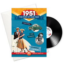 1951 66th Birthday Anniversary Gift Card Retro CD Book Gifts Greetings Cards