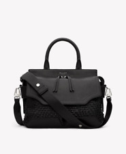 New $895 Rag & Bone Woven Pilot Satchel Shoulder Bag in Black Leather