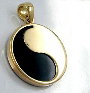 375 ECHT GOLD ☯☯☯ Yin-Yang Anhänger mit Onyx