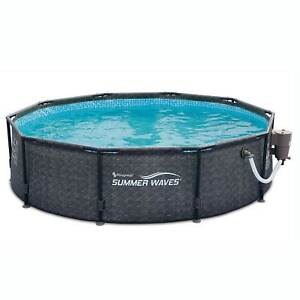 """Summer Waves 10' x 30"""" Outdoor Round Frame Above Ground Swimming Pool with Pump"""