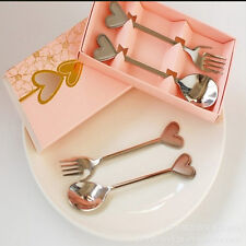 2PCS Love Heart Stainless Steel Spoon Fork Set Wedding Favor Party Gift Silver