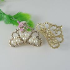 5PCS Golden Style Alloy Cute Crown Pearl Jewelry Accessories Charms 47*33*8mm