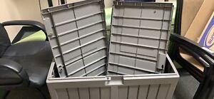 FOR PARTS-Suncast 50-Gallon Outdoor Resin Deck Box, DB5025 Light Gray-per Part