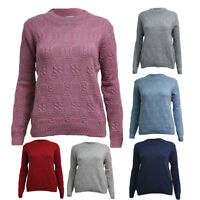 Womens Ladies Knitted Crew Neck Cable Knit Pullover Aran Jumper Sweater UK 10-24