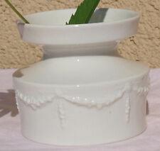 Vase Porcelain Baroque GDR Flowers Wreath Gemarket Unterweißbach Relief White