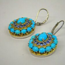STS 925 Sterling Silver Turquoise & Purple Stone Earrings