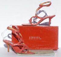 EDMUNDO CASTILLO Coral Salmon Pink Leather Cut Out Ankle Strap Sandals Pumps 10