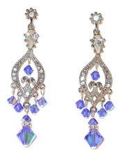 SAPPHIRE Blue Crystal Chandelier Earrings Swarovski Elements Silver Formal