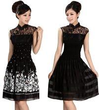 Women Sleeveless Silky Lace Chinese Dress Evening Party Dress Cheongsam QiPao