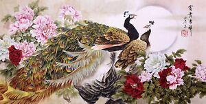 ORIGINAL ASIAN ART CHINESE WATERCOLOR PAINTING-Peacock birds lover&Peony flowers