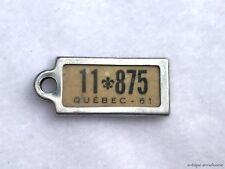1961 QUEBEC Vintage Mini License Plate WAR AMPS KEY TAG # 11 875