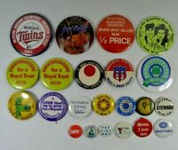 LOT of 18 Vintage 1960's to 1990's Pinback Buttons Various Advertising Promo's