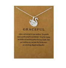 Swan Necklace - Graceful - Silver - Gift Necklace - Cute - Gift Card - For Her
