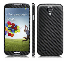 2 X Black Carbon Fibre Skin Sticker Full Body Wrap for Samsung Galaxy S4 i9500