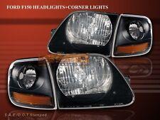 97 98 99 00 01 02 03 FORD F150 97-02 EXPEDITION BLACK HEADLIGHTS + CORNER LIGHTS