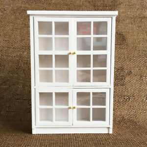 1/12 Dollhouse Miniature Furniture White Kitchen Dining Cabinet Display Shel.yx