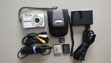 Olympus FE-340 Silver 8MP Digital Camera, 2 Batteries, Charger, Cables - WORKS