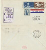 US 1961 DELTA AIRWAYS FIRST FLIGHT NEW ORLEANS TO ARUBA FLOWN COVER (a)