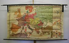 Schulwandkarte alte Schulkarte vor 1945 Europa nationale Bewegung >1914 182x110c