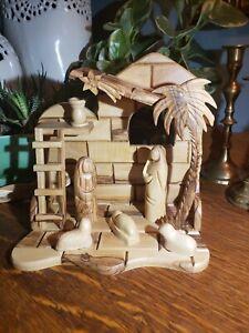 Christmas Olive Wood Nativity Manger Scene Hand Carved Made in Israel