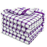 6 Packs Cotton Kitchen Tea Towels Monocheck Purple Dish Drying Cloths Towelogy®