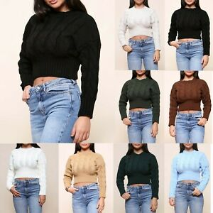 Ladies Women's Cropped Jumper Chunky Knitted Ribbed Winter Top New