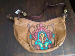 BUCKET LEATHER SHOULDER BAG Tote Crossbody brown Purse Cuoio NWT Embroidered