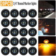 "20X Mini Round Amber 3/4"" inch Smoked Lens Side 3LED Marker Trailer Bullet Light"