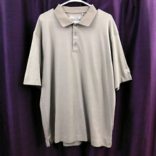 Cutter & Buck Polo Shirt Brown White Striped Cb Dry Tec Moisture Wicking Mens Xl