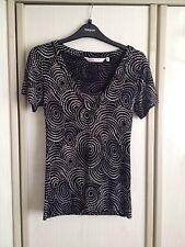 EWM Pure Classics Women Black & Beige Pattern Blouse Size 10-12 UK