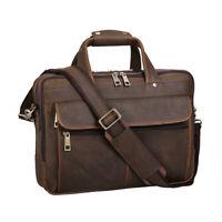 """Retro Men's Leather 15.6"""" Laptop Briefcase Messenger Shoulder Bag Travel Handbag"""