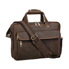 "Retro Men's Leather 15.6"" Laptop Briefcase Messenger Shoulder Bag Travel Handbag"