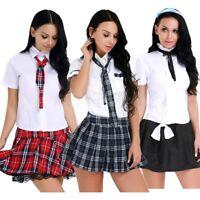 Ladies School Girl Costume Fancy Dress Uniform Party Costume Outfit Sailor Skirt