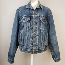 517619f7de Vintage Levis Jean Jacket Sz 44 Denim Blanket Lined Red Tab Distressed Barn  Coat