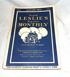 FRANK LESLIES POPULAR MONTHLY JANUARY 1904 NEW AUTOMOBLIES EDISON PHONOGRAPH AD