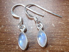Very Small Moonstone Blue Iridescent Marquise Sterling Silver Dangle Earrings