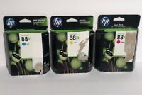 Lot of 3 HP Ink New Genuine 88XL Magenta Cyan Yellow Inkjet Sealed Box EXPIRED