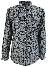 Lambretta Retro Button Down Black/White Paisley Print 100% Cotton Shirt