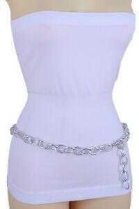 Women Bling Hip High Waist Belt Silver Metal Chunky Chain Oval Links Fit XS S M