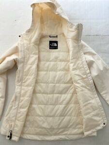 The North Face ivory mid weight hooded parka style jacket women's sz M