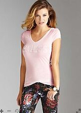 NWT Guess Top Tee Pearl Guess Logo Front Light Pink Semi Sheer Size Medium M