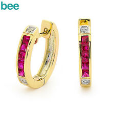 New Square & Ruby 9k 9ct Solid Yellow Gold and Diamond Huggie Earrings 3.6Grams