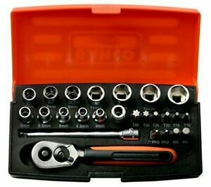 """Bahco SL25 Socket Tools Set 25 Piece 1/4 """" With Small Neat Case *New"""