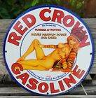 1932 RED CROWN PORCELAIN SIGN GAS OIL VARGAS CHEVY FORD SUMMER NEBRASKA HUSKERS