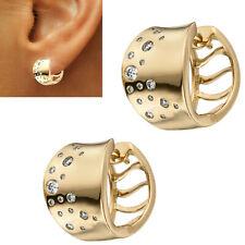 Kleine 10 mm breite Creolen 585 echt Gold Diamanten 0,26 ct. Ohrringe glänzend