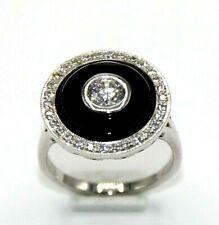 Onyx Ring  Onyx & & Zirkonia   925er Silber   # 60