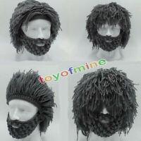 Grey Warm Beard Hat Barbarian Looter Crochet Beanie Cap Schnurrbart Cosplay Hot
