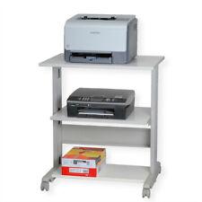 Druckertisch, grau mit drei Ebenen und vier Rollen